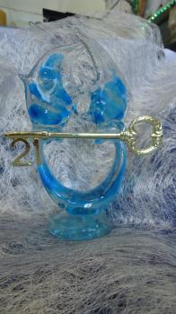Glass Ornament with 21st Key