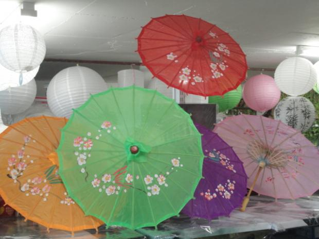 Small Colored Fabric Parasol with printing
