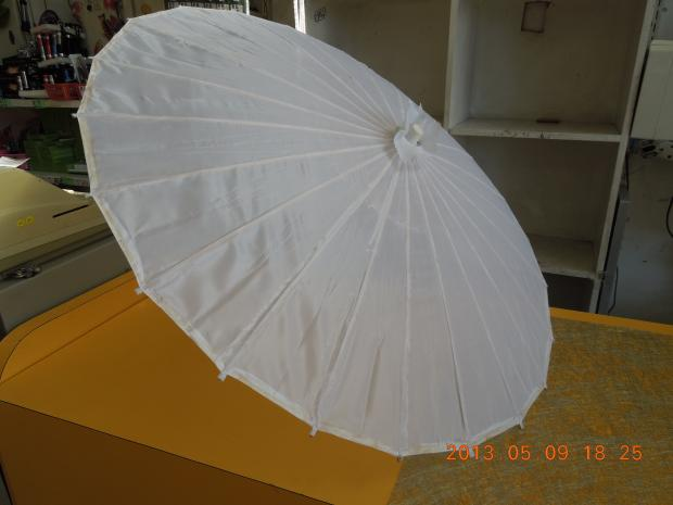 Small Fabric Parasol - Plein White